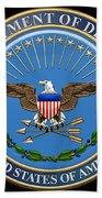 U. S. Department Of Defense - D O D Emblem Over Black Velvet Bath Towel