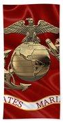 U. S.  Marine Corps - N C O Eagle Globe And Anchor Over Corps Flag Bath Towel