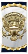 Vice Presidential Service Badge On Blue Velvet Bath Towel