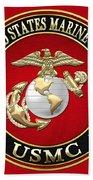 U S M C Eagle Globe And Anchor - E G A On Red Velvet Bath Towel