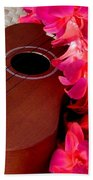 Ukulele And Red Flower Lei Bath Towel