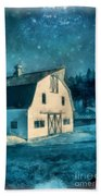 Under The Vermont Moonlight Watercolor Bath Towel