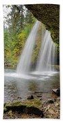 Under Upper Butte Creek Falls In Autumn Bath Towel