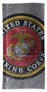 United States Marines Logo On Riveted Steel Bath Towel