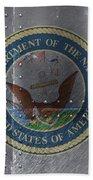 United States Navy Logo On Riveted Steel Boat Side Bath Towel
