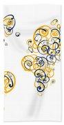 University Of California Berkeley Colors Swirl Map Of The World  Bath Towel