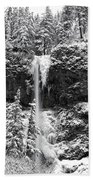 Upper Falls In Snow's Cover Bath Towel