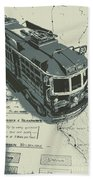 Urban Trams And Old Maps Bath Towel
