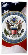 U. S. Department Of State - Dos Emblem Over U.s. Flag Bath Towel