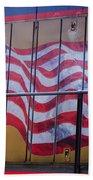 Us Flag On Side Of Freight Engine Bath Towel