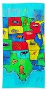 Us Map With Theme  - Free Style -  - Da Bath Towel