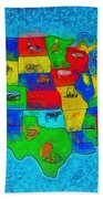 Us Map With Theme  - Special Finishing -  - Da Bath Towel
