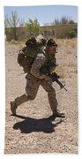 U.s. Marine Runs To The Uh-60 Black Bath Towel