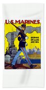 U.s. Marines - Service On Land And Sea Bath Towel
