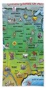 Usa Cartoon Map Bath Towel