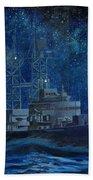 Uss Truxtun Dlgn-35 A Nuclear-powered Cruiser At Sea At Night Under The Milky Way Bath Towel