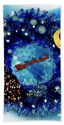 Van Gogh's Starry Night Wreath Bath Towel
