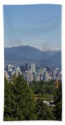 Vancouver Bc City Skyline And Mountains View Hand Towel