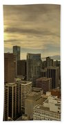 Vancouver Bc Cityscape During Sunset Hand Towel