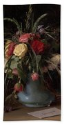 Vase Of Flowers And A Visiting Card Bath Towel