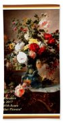 Vase With Roses And Other Flowers L A With Decorative Ornate Printed Frame. Bath Towel