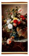 Vase With Roses And Other Flowers L B With Alt. Decorative Ornate Printed Frame. Bath Towel