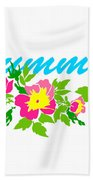 Vector Round Frame Isolated With Summer Flowers In Vintage Style Bath Towel