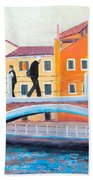 Venice Canal Painting Hand Towel