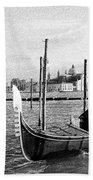 Venice. Gondola. Black And White. Bath Towel