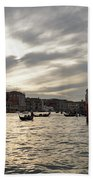 Venice Italy - Pearly Skies On The Grand Canal Bath Towel