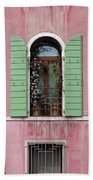 Venice Window In Pink And Green Hand Towel