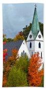 Vermont Church In Autumn Bath Towel
