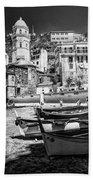 Vernazza Boats And Church Cinque Terre Italy Bw Bath Towel