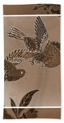 Victorian Birds In Sepia Bath Towel