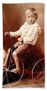 Victorian Boy With Pug Dog And Tricycle Circa 1900 Bath Towel