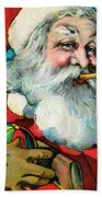 Victorian Illustration Of Santa Claus Holding Toys And Blowing On A Trumpet Bath Towel
