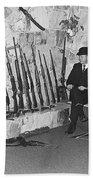 Viet Nam Vet John Dane With His Weapons Collection American Fork Utah 1975 Bath Towel