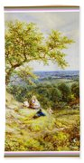 View From The Hill On The Village Below. P B With Decorative Ornate Printed Frame. Bath Towel