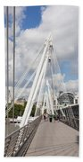 View Of Golden Jubilee Bridge, Thames Bath Towel