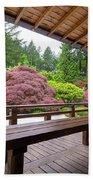 View Of Japanese Garden From The Veranda Bath Towel