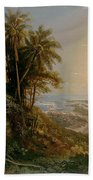 View Of The Harbor Of Puerto Cabello, Study Bath Towel
