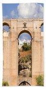 View Of The Tajo De Ronda And The Puente Nuevo Bridge From Across The Valley Bath Towel