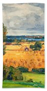 View Of Vadstena From The Surrounding Fields Bath Towel
