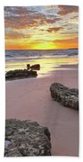 Gale Beach At Sunset. In Algarve Bath Towel