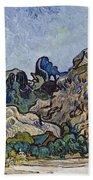 Vincent Van Gogh  Mountains At Saint Remy Bath Towel