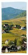 Vineyards In Autumn In The Morning Bath Towel