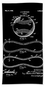 Vintage 1928 Baseball Patent Black Bath Towel