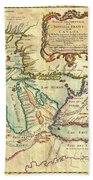Vintage Antique Map Of The Great Lakes Bath Towel