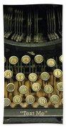 Vintage Antique Typewriter - Text Me - Antique Typewriter Keys Print Black And Gold Bath Towel
