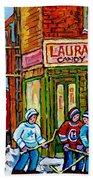 Vintage Candy Store Classic Coca Cola Truck Winter Scene Hockey Art Canadian Art Carole Spandau      Bath Towel
